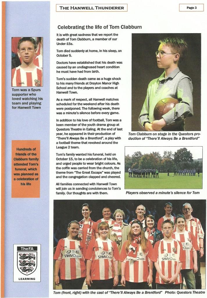 Hanwell Town FC's tribute