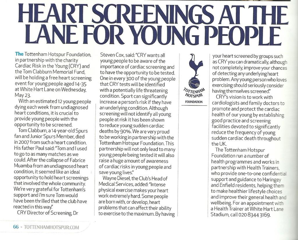 Spurs screenings May 2012