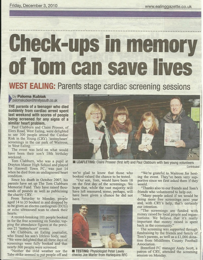 Ealing Gazette article